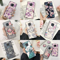 For Samsung Galaxy S8 S9 S10 Plus S10e Slim Flower Stand Holder TPU Case Cover