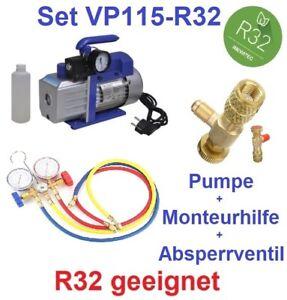 Set: Vakuumpumpe Klimaanlage 42 L/min, R32 geeignet + Monteurhilfe+Absperrventil