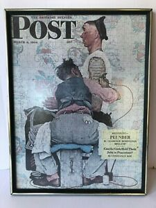 """Saturday Evening Post March 4th 1944 Vintage Puzzle Framed 15"""" x 25"""""""