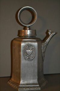 V.Large Antique Arts and Craft Scandinavian Pewter/White Metal Coffee Pot,c 1900