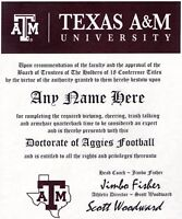 TEXAS AGGIES FAN ~A&M CERTIFICATE ~ DIPLOMA ~ GIFT ~ MAN CAVE ~ GREAT  FUN