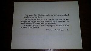 Vntg 1933 Winchester Catalog Request Confirmation