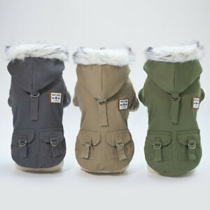 Winter Small Pet Dog Hoodie Down Jacket Puppy Warm Coat French Bulldog Clothes Q