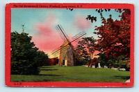 Long Island, NY - RED BORDER VINTAGE POSTCARD OF OLD WINDMILL - LINY - D3