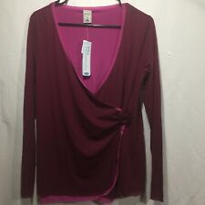 Old Navy Maternity Womens Medium Wrap Top Burgundy Pink Long Sleeve V-Neck NEW