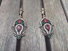 Turkish gold Drop Dangle Hook Earrings Rhinestone crystal Green Flower indian