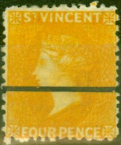 St Vincent 1869 4d Yellow SG12 Fine & Fresh Mtd Mint with Ruled Bar Proof