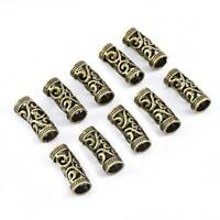 10pcs Dreadlock Beads Adjustable Hair Braid Rings Cuff Clips Tubes Jewelry 10mm