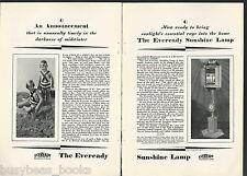 1928 Eveready SUNSHINE LAMP advertisement, National Carbon Co, arc lamp