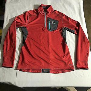 Salomon Mens 1/4 Zip Advance Skin Pullover Base Layer Long Sleeve Large Red Run