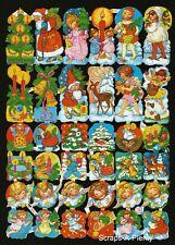 German Embossed Scrap Die Cut - Christmas Santa Children Angels   EF7150