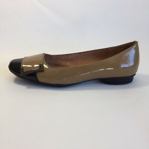 Hush Puppies 'Patrice' Tan Black Patent Leather Size 38 Support Shoe GUC