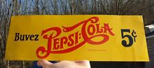 Early 40's Canadian PEPSI-COLA 5¢ soda small advertising tin sign FREE SHIP!