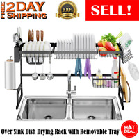 2-Tier Stainless Steel Dish Drying Rack Drain Kitchen Over Sink Organizer 85CM