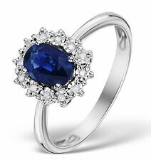 Sapphire and Diamond Cluster Ring White Gold Engagement Dress Certificate