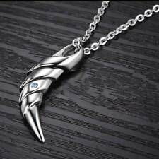 Stainless Steel with Blue Crystal Tooth Pendant Necklace for Men Jewelry Gift
