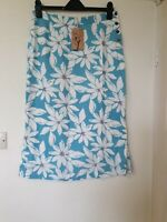 Lily And Me Daisy Floral Linen Blend Side Split Midi Skirt Size 14