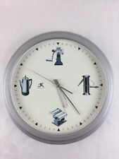 """Unique Wall Clock with Kitchen Theme Retro Style Appliances 12"""" Face 15"""" Frame"""