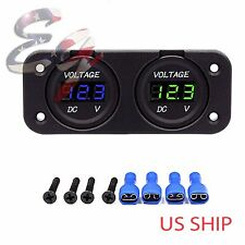 12V-24V Waterproof Car Boat Marine Motorcycle Dual LED Voltmeter Voltage Meter