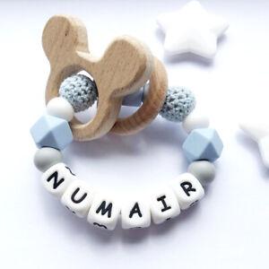 Baby Teething Name Personalised Silicone Beads Beech Animal Teether Bracelet Toy