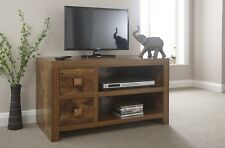 Dark Wood Mango TV Stand Entertainment Unit Distressed Hardwood 2 Drawer 1 Shelf