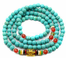 Agate Prayer Beads Lama Necklace Bracelet 6mm Tibetan Buddhist 108 Turquoise Red