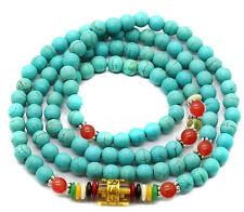 6mm Tibetan Buddhist 108 Turquoise Red Agate Prayer Beads Lama Necklace Bracelet