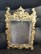 Antique Victorian Brass Wall Mirror With Lion Head And Other Animal Figures
