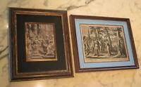 2 gravures XVIII siècle Beaux encadrements - cadre - religion 18e France bible