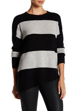 NEW 360 Cashmere Charles Asymmetrical Cashmere Sweater- Black, grey S $345