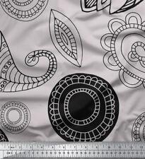 Soimoi Stoff schwarz Skizze Paisley Stoff 1 Meter bedrucken - PSL-514E