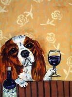 CAVALIER KING CHARLES spaniel WINE 11oz. DOG art Mug