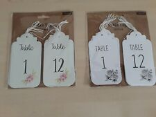 12 Classic or Floral Wedding Reception Guest Table Number Tags Labels & Twine