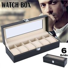6 Grids Men Leather Watch Case Jewelry Collection Storage Holder Box Display UK