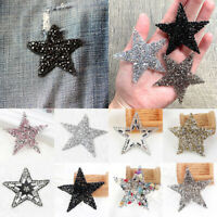 Crystal Rhinestone Star Patches Sewing Iron On Patch Applique For Clothes DIY