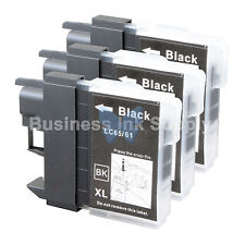 3 BLACK LC65 NEW HIGH YIELD Compatible Ink LC65BK LC65 LC-65 for Brother Printer