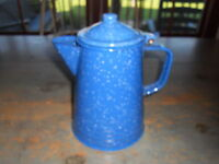 ANTIQUE REPRODUCTION  BLUE GRANITE COFFEE POT