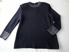 st. john evening  top,blouse  Sz 12 santana knit black,bling silver  a