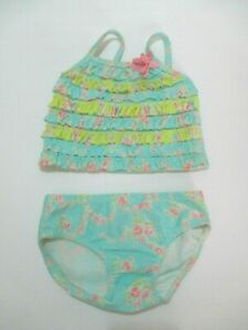 INFANT GIRLS KATE MACK BABY BISCOTTI PINK AQUA FLORAL RUFFLE 2 PC SWIMSUIT 6 MON
