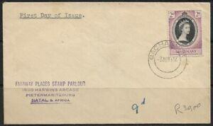 Basutoland 1953 QEII FDI Sent to Pietermaritzburg, Qachas Nek CDS Dated 3/06/53