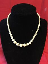 Vintage Small White Bead Rhinestone Choker Necklace 1950's 1960's