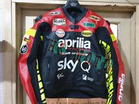 "NEW ""APRILIA"" MOTORBIKE MOTORCYCLE MOTOGP LEATHER RACING JACKET"