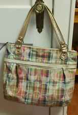 COACH POPPY DAISY MADRAS GLAM POPPY SHOULDER HAND BAG TOTE 19611