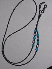 "Macho Men's Eyeglass Chain~Manly Matte Black w/Turquoise~28""~NEW~Buy 3 SHIP FREE"
