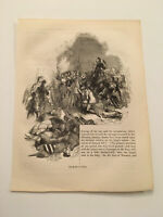 K76) The Battle of Cressy Crecy Hundred Years' War 1845 Engraving