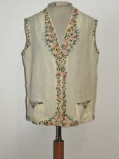 1920's - 1930's  Pastel Hand Embroidered Ivory Wool Vest MED