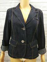 Ann Taylor Loft Blazer Jacket Denim Jean Dark Blue Roll Tab Sleeve Pockets Sz 6