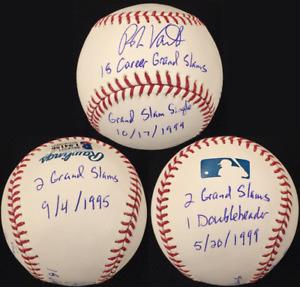 ROBIN VENTURA Grand Slam Inscription Stat Ball Signed Baseball ~ Beckett BAS COA