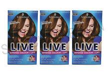 3 x SCHWARZKOPF PERMANENT LIVE HAIR COLOUR L54 LUMINOUS BROWN