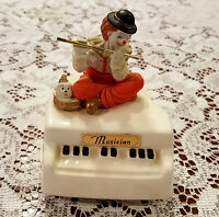 Musical Revolving Baby Grand Piano with Clown Rare Vintage Porcelain Figurine